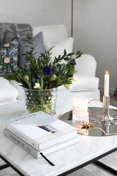 Elegant coffee table styling.