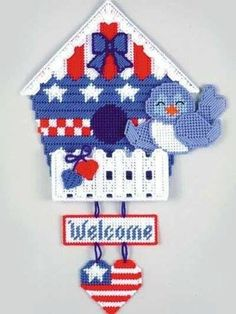 BLUE BIRD WELCOME - Darling Welcome Door Sign - Needlepoint on Plastic Canvas - Handmade - Hand Stit