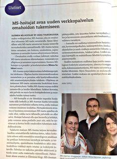 Mukana luomassa MS-Asemaa Suomen MS-hoitajien kanssa! :) #hoitotyö #MStauti #artikkeli #AVAIN #lehti Event Ticket, Author, Reading