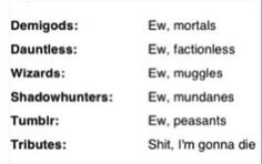 Percy Jackson, Divergent, Harry Potter, Mortal Instruments, Tumblr, Hunger Games