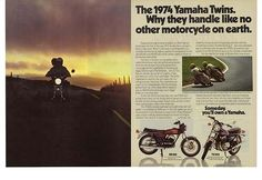 1973 2 Page Magazine Ad for 1974 Yamaha Twin Motorcycles RD350 TX500 | eBay