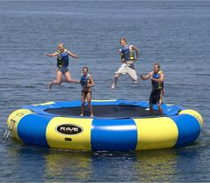 13 feet of fun on the water. what more could you ask for with this water trampoline?