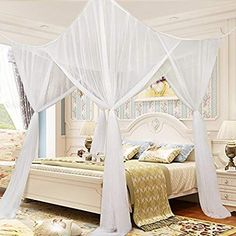 4 Corner Post Bed Canopy Mosquito Net Full Queen King Size Netting Bedding White