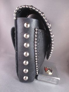 Leather 100s Cigarette Case with Chrome Rivets Outlined with Chrome Ball Chain from quabbinleather.com