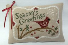 Season's Greetings Cross Stitched Mini Pillow / by luvinstitchin4u