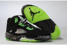 buy popular 16947 da5f5 Air Jordan 5 Retro Quai 54 Black Radiant Green Men s Sneakers Cheap Jordan  Shoes, Cheap