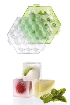 Perfectly square ice cube tray. Add fruits or herbs for flavored cubes.