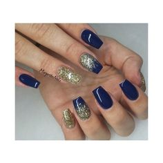 Navy Blue And Gold Glitter Nails Nail Art Gallery ❤ liked on Polyvore featuring nails