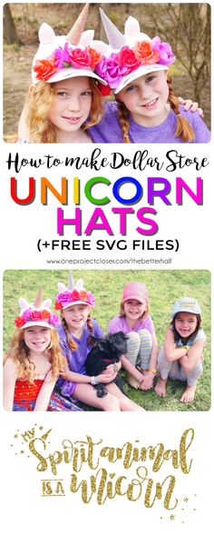 DIY Dollar Store Unicorn Hats LOVE THESE! Step-by-step video and written tutorial on how to make easy Unicorn Hats + free printable stencil and SVG files from One Project Closer. Crazy Hat Day, Crazy Hats, Activities For Kids, Crafts For Kids, Unicorn Hat, Hat Tutorial, Unicorn Crafts, Diy Hat, Dollar Tree Crafts