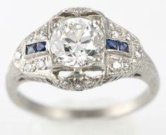 Art Deco Diamond and Sapphire Ring, ca. 1920s
