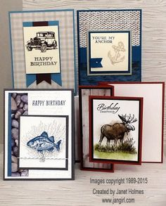 2015 Stampin' Up Adventure Bound Guy Greetings, By the Tide and Walk in the Wild Masculine Cards
