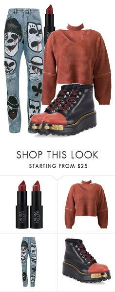 """""""I create looks...."""" by vri0t ❤ liked on Polyvore featuring Laura Geller, WithChic, Faith Connexion and Prada"""