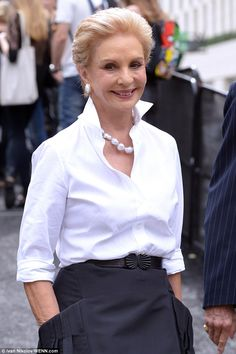 Carolina Herrera in chic baroque pearls + white shirt