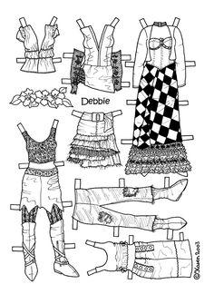 Karen`s Paper Dolls: Debbie 1-4 Paper Doll to Colour. Debbie 1-4 påklædningsdukke til at farvelægge.