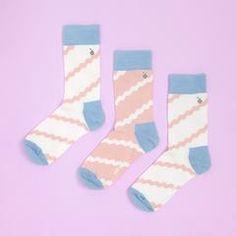 ribbon socks - peach and blue