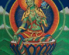Diosa Verde Tara espiritual arte Buda por HalstenbergStudio en Etsy