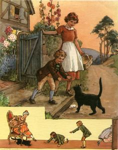 """""""Pussy Cat, Pussy Cat, Where Have You Been?"""" - From """"The Margaret Tarrant Nursery Rhyme Book"""", illustrated by Margaret Tarrant; New York: E. P. Dutton, [1947]"""