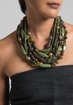 Monies UNIQUE Agate, Brass, Seeds & Ceramic Necklace