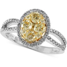 Soleil by EFFY Collection 14k Gold Two-Tone Natural Yellow (7/8 ct. t.w.) and White Diamond (1/4 ct. t.w.) Oval Ring found on Polyvore