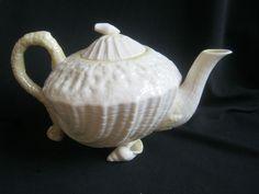 Belleek Neptune Tea Pot Teapot Yellow 3 cups Irish Ireland Yellow Rib Shell Feet #Belleek