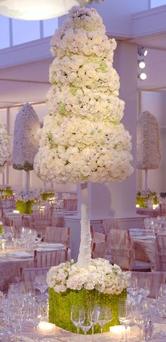 Opulent Wedding or a Winter White Christmas Celebration, this beautiful floral centerpiece is simply stunning by Floral Centerpieces, Wedding Centerpieces, Wedding Table, Floral Arrangements, Centrepieces, Deco Floral, Floral Design, Reception Decorations, Event Decor