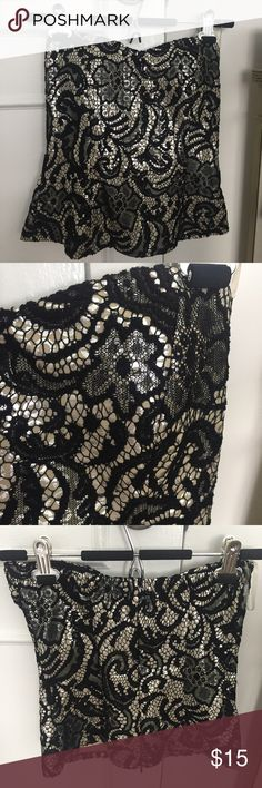 Strapless Embroidered Top Black and Gold strapless Embroidered Top. Zips up the back. Built in Bra. Size Small. Like New. Love Culture Tops Blouses