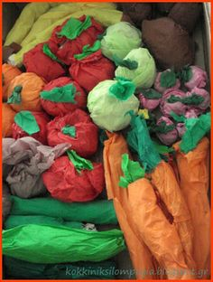Making fruit and vegies from crepe paper... Could use them in home corner with grocery shop play?