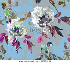 Seamless Floral Pattern Peon, Iris and Grass on Pale Blue - stock photo