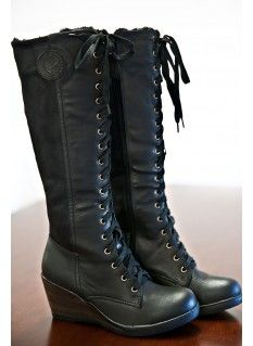 I want these for winter!! Breckenridge Fur Lined Lace-Up Boots-Black