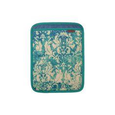 VIntage  Green Blue Floral  Damask Sleeve For iPads