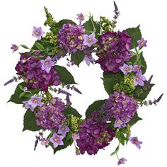 Hydrangea Wreath, Hydrangea Flower, Silk Flowers, Cut Flowers, Artificial Hydrangeas, Artificial Plants, Dark Purple Flowers, Lilac, Lavender