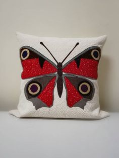 Your place to buy and sell all things handmade Butterfly Cushion, Peacock Butterfly, Applique Cushions, Handmade Cushions, Designer Pillow, Vintage Fabrics, Soft Furnishings, Textile Art, Sewing Projects
