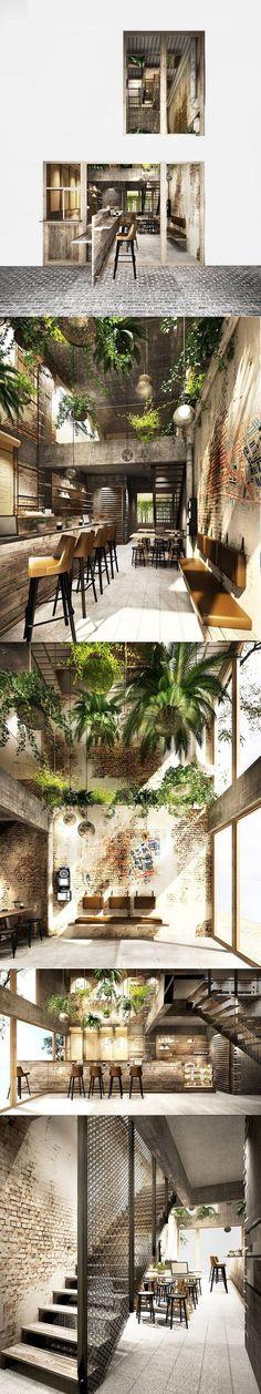 ( the old telephone) Chant's Neighbourhood Cafe - Coffee shop @ Sukhumvit 58 , Bangkok , Thailand -- design : Badintra Balankura / Context Studio Design Café, Cafe Design, House Design, Design Ideas, Design Trends, Interior Exterior, Exterior Design, Interior Architecture, Unique Architecture