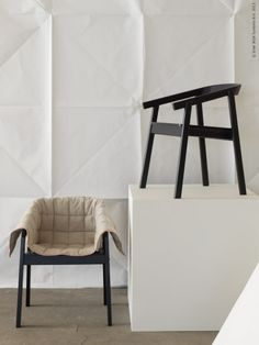 Chairs wrapped in moving blanket, Ikea, SBJÖRN  http://livethemma.ikea.se/inspiration/smygtitt-aprilnyheter-pa-ikea