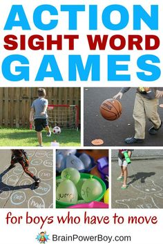 Awesome sight word games for boys who are always on the move! These action sight word games are just right for bodily-kinesthetic learners and boys who don't like to sit still. They can learn to read in a way that works best for them. Click the picture to Teaching Sight Words, Sight Word Practice, Sight Word Games, Sight Word Activities, Reading Activities, Literacy Activities, Activities For Kids, Reading Games For Kids, Dyslexia Activities