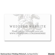 Heirloom Rose | Wedding Website/Info Card Double-Sided Standard Business Cards (Pack Of 100)