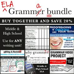 Buy ALL of my grammar products together and save 20%! Hook students into why grammar and proofreading are important, use my tactile editing checklist  cards, and use the video project to let students teach each OTHER!