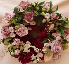 Victorian, Shabby Chic ,Burgundy and Pink Wreath With Roses and Dried Flowers