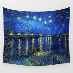 Starry Night Over The Rhone By Vincent Van Gogh Wall Hanging Tapestry by Palazzo Art Gallery - Small: x Room Tapestry, Tapestry Wall Hanging, Tapestries, Wall Hangings, Print T Shirts, Society 6 Tapestry, Vintage Walls, Vincent Van Gogh, Fine Art Gallery