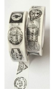 Washi Tape in black and white - Postage Stamps. This tape is perfect to use on any of your paper projects! This package contains four of washi tape. Tapas, Washi Tape Crafts, Washi Tapes, Twine Crafts, Paper Crafts, Decorative Tape, Decorative Accents, Creation Deco, Duck Tape