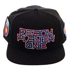 buy online e10f9 a62a8 Ready Player One Logo Flat Bill Cap, Patch Black Snapback with Gamer  Patches, Video