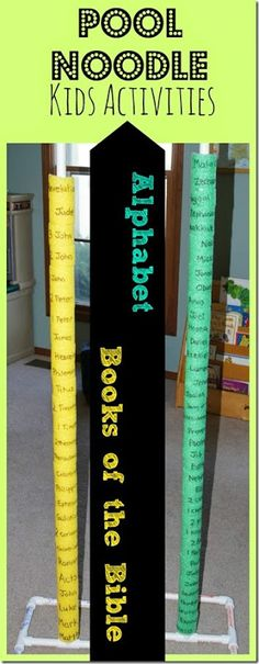 Pool Noodle Kids Activity - Help kids learn the alphabet or Books of the Bible with this fun, hands on idea using pool noodles! This could be for older learners but can be an introduction to the books of the bible for the younger learners. Sunday School Lessons, Sunday School Crafts, School Fun, School Ideas, Prep School, School Games, Bible Lessons, Lessons For Kids, Learning The Alphabet