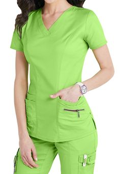 Accents abound on this eco-friendly, figure-flattering and lightweight stretch scrub top! Citrus color is perfect for the season! Cute Scrubs Uniform, Scrubs Outfit, Stylish Scrubs, Medical Uniforms, Nursing Uniforms, Medical Scrubs, Nursing Clothes, Scrub Tops, Costume