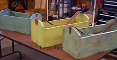 Twice Nice: New Things - Tool Totes Old Tool Boxes, Tool Tote, Nice Furniture, Candy Cane Wreath, Old Tools, Painting Tools, Storage Bins, Wall Hooks, Reuse