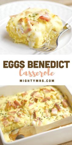 Easy Baked Eggs Benedict Casserole - If you absolutely love Eggs Benedict but don't love the time it takes to make a plate for everyone? This easy, baked Eggs Benedict casserole is for you! Eggs Benedict Casserole, Egg Benedict, What's For Breakfast, Breakfast Dishes, Morning Breakfast, Breakfast Casserole With Croissants, English Muffin Breakfast, Mexican Breakfast Recipes, Breakfast Sandwiches