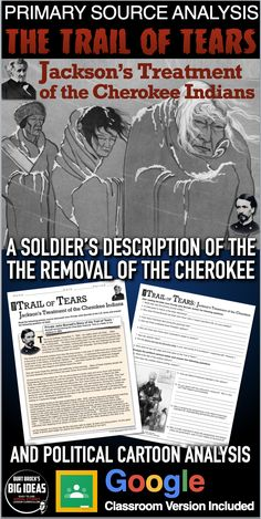The Trail of Tears and Andrew Jackson Primary Source Analysis takes students to a letter written by a U.S. soldier during the removal of the Cherokee natives in 1838. This is a first hand account describing how soldiers ripped people out of their homes and forced them to march over 2,000 miles, leaving 4,000 dead.     #HistoryLessonPlans #socialstudies Teaching American History, American History Lessons, Teaching History, Political Cartoon Analysis, Political Cartoons, History Lesson Plans, Trail Of Tears, Student Guide, Andrew Jackson