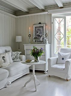 Love the shades of white in this room, 15 Cottage Living Rooms Ideas