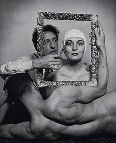 Photo of Cocteau, with ballerina Ricki Soma (Anjelica Huston's mother) and dancer Leo Coleman, 1949 - Philippe Halsman for LIFE