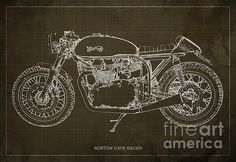 Check out moto guzzi cafe racer blueprint art print 12x8 to 60x41 norton cafe racer blueprint by pablo franchi malvernweather