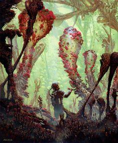 Mấy cái cây mình làm trong rừng nhiệt đới mà thay bằng .... cái gì e chưa nghĩ ra